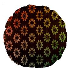 Grunge Brown Flower Background Pattern Large 18  Premium Round Cushions