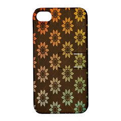 Grunge Brown Flower Background Pattern Apple iPhone 4/4S Hardshell Case with Stand