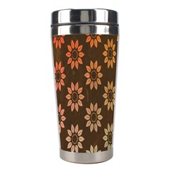 Grunge Brown Flower Background Pattern Stainless Steel Travel Tumblers