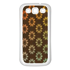 Grunge Brown Flower Background Pattern Samsung Galaxy S3 Back Case (white)