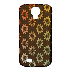 Grunge Brown Flower Background Pattern Samsung Galaxy S4 Classic Hardshell Case (PC+Silicone)