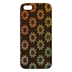 Grunge Brown Flower Background Pattern iPhone 5S/ SE Premium Hardshell Case