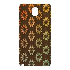 Grunge Brown Flower Background Pattern Samsung Galaxy Note 3 N9005 Hardshell Back Case