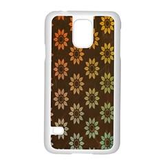 Grunge Brown Flower Background Pattern Samsung Galaxy S5 Case (White)