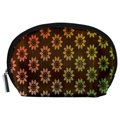 Grunge Brown Flower Background Pattern Accessory Pouches (Large)