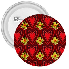 Digitally Created Seamless Love Heart Pattern Tile 3  Buttons