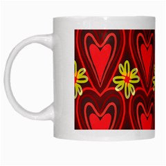 Digitally Created Seamless Love Heart Pattern Tile White Mugs