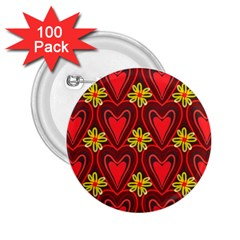 Digitally Created Seamless Love Heart Pattern Tile 2.25  Buttons (100 pack)