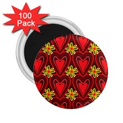 Digitally Created Seamless Love Heart Pattern Tile 2.25  Magnets (100 pack)