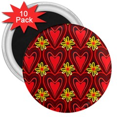 Digitally Created Seamless Love Heart Pattern Tile 3  Magnets (10 Pack)