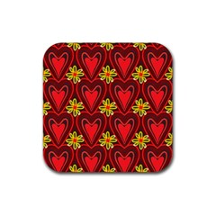 Digitally Created Seamless Love Heart Pattern Tile Rubber Coaster (square)