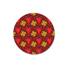 Digitally Created Seamless Love Heart Pattern Tile Magnet 3  (round)