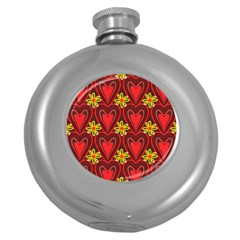 Digitally Created Seamless Love Heart Pattern Tile Round Hip Flask (5 Oz)