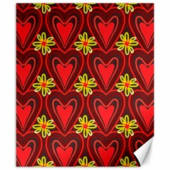 Digitally Created Seamless Love Heart Pattern Tile Canvas 8  X 10