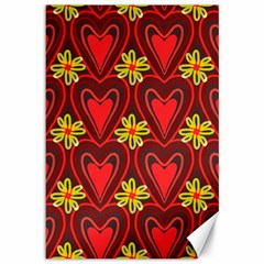 Digitally Created Seamless Love Heart Pattern Tile Canvas 12  X 18