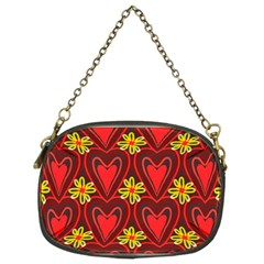 Digitally Created Seamless Love Heart Pattern Tile Chain Purses (two Sides)