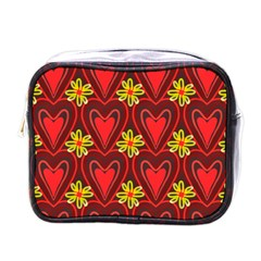 Digitally Created Seamless Love Heart Pattern Tile Mini Toiletries Bags