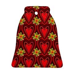Digitally Created Seamless Love Heart Pattern Tile Bell Ornament (two Sides)