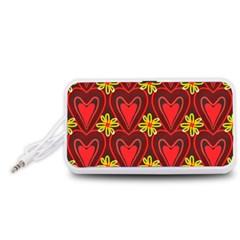 Digitally Created Seamless Love Heart Pattern Tile Portable Speaker (White)