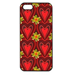 Digitally Created Seamless Love Heart Pattern Tile Apple iPhone 5 Seamless Case (Black)