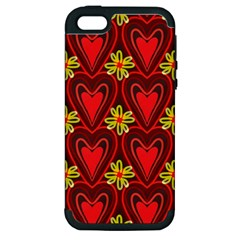 Digitally Created Seamless Love Heart Pattern Tile Apple iPhone 5 Hardshell Case (PC+Silicone)