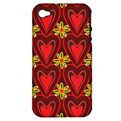 Digitally Created Seamless Love Heart Pattern Tile Apple Iphone 4/4s Hardshell Case (pc+silicone)