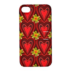 Digitally Created Seamless Love Heart Pattern Tile Apple iPhone 4/4S Hardshell Case with Stand