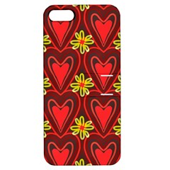Digitally Created Seamless Love Heart Pattern Tile Apple iPhone 5 Hardshell Case with Stand