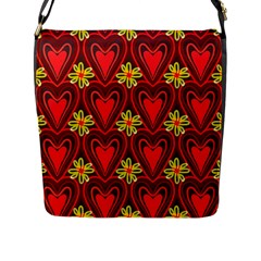 Digitally Created Seamless Love Heart Pattern Tile Flap Messenger Bag (L)