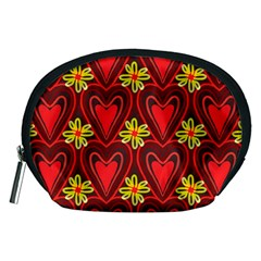 Digitally Created Seamless Love Heart Pattern Tile Accessory Pouches (medium)