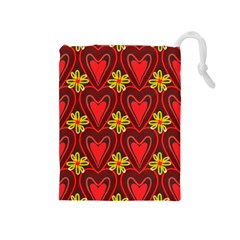 Digitally Created Seamless Love Heart Pattern Tile Drawstring Pouches (medium)