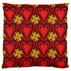 Digitally Created Seamless Love Heart Pattern Tile Large Flano Cushion Case (One Side)