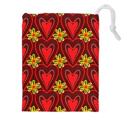 Digitally Created Seamless Love Heart Pattern Tile Drawstring Pouches (xxl)