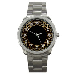 Abstract  Frame Pattern Card Sport Metal Watch