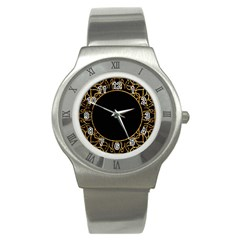 Abstract  Frame Pattern Card Stainless Steel Watch
