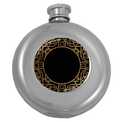 Abstract  Frame Pattern Card Round Hip Flask (5 oz)