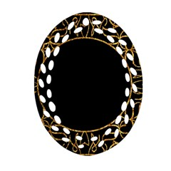 Abstract  Frame Pattern Card Oval Filigree Ornament (Two Sides)