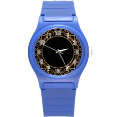 Abstract  Frame Pattern Card Round Plastic Sport Watch (S)