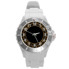 Abstract  Frame Pattern Card Round Plastic Sport Watch (L)