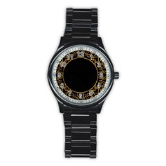 Abstract  Frame Pattern Card Stainless Steel Round Watch