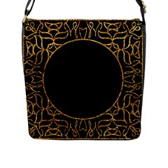 Abstract  Frame Pattern Card Flap Messenger Bag (L)