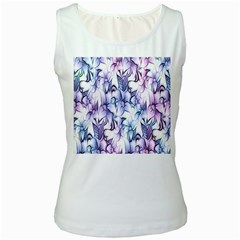 Floral Pattern Background Women s White Tank Top