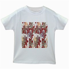 Floral Pattern Background Kids White T Shirts