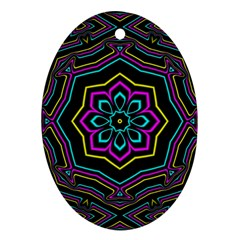 Cyan Yellow Magenta Kaleidoscope Ornament (oval)