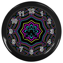 Cyan Yellow Magenta Kaleidoscope Wall Clocks (black)