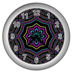 Cyan Yellow Magenta Kaleidoscope Wall Clocks (silver)