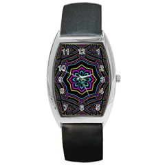 Cyan Yellow Magenta Kaleidoscope Barrel Style Metal Watch