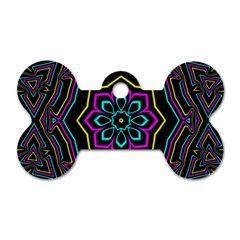 Cyan Yellow Magenta Kaleidoscope Dog Tag Bone (one Side)