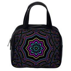 Cyan Yellow Magenta Kaleidoscope Classic Handbags (one Side)