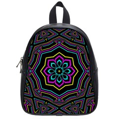 Cyan Yellow Magenta Kaleidoscope School Bags (small)
